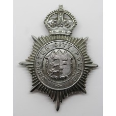 Chester City Police Helmet Plate - King's Crown