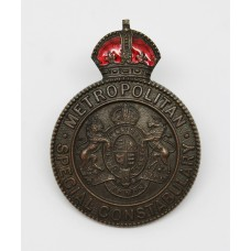 Metropolitan Police Special Constabulary Inspector's Cap Badge - King's Crown (Red Enamel)