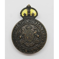 Metropolitan Police Special Constabulary Sergeant's Cap Badge - King's Crown (Yellow Enamel)