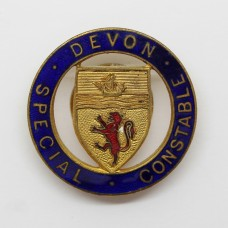 Devon Special Constable Enamelled Lapel Badge (Red Lion)