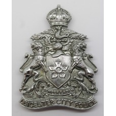Leicester City Police Helmet Plate - King's Crown (Chrome)