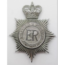 Sheffield & Rotherham Constabulary Helmet Plate - Queen's Cro