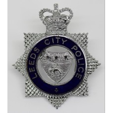 Leeds City Police Senior Officer's Enamelled Cap Badge- Queen's C