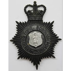 Merthyr Tydfil Borough Police NIght Helmet Plate - Queen's Crown