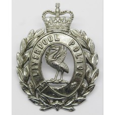 Liverpool City Police Wreath Helmet Plate - Queen's Crown