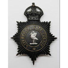 Liverpool City Police Night Helmet Plate - King's Crown