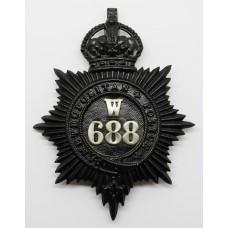Metropolitan Police 'W' Division (Clapham) Helmet Plate - King's