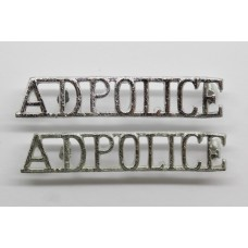 Pair of Army Depot Police (A.D.POLICE) Anodised (Staybrite) Shoulder Titles