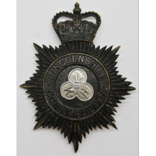 Lincolnshire Constabulary Night Helmet Plate - Queen's Crown