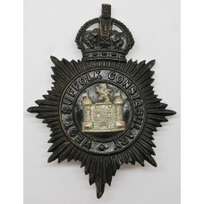 West Suffolk Constabulary Night Helmet Plate - King's Crown