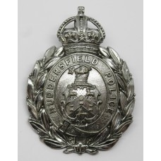 Huddersfield Police Wreath Helmet Plate - King's Crown