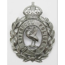 Liverpool City Police Wreath Helmet Plate - King's Crown