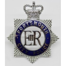 Portsmouth City Police Senior Officer's Enamelled Cap Badge - Queen's Crown