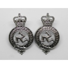 Pair of Isle of Man Constabulary Collar Badges - Queen's Crown