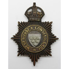 West Sussex Constabulary Night Helmet Plate - King's Crown