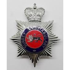 Surrey Constabulary Enamelled Helmet Plate - Queen's Crown
