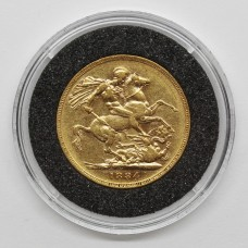 1884 M Victoria 22ct Gold Full Sovereign Coin (Melbourne Mint)